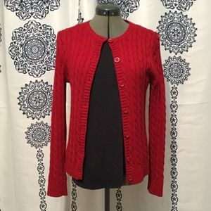 LL Bean Red Cable Knit Sweater 100% Cotton